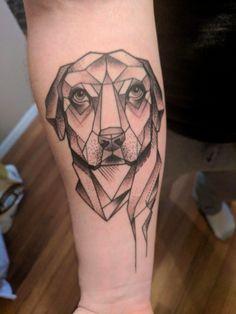 Geometric dog with pointillism shading, tattoo, done by Mel at black squirrel in Omaha, Nebraska