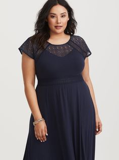 e7640e9acc46 Navy Sheer Lace Yoke Knit Maxi Dress