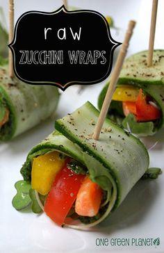 Raw Zucchini Wraps http://onegr.pl/1pv37Mm #raw #vegan #eatseasonal