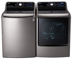 """#LG #Graphite Steel Top Load Laundry Pair with WT7700HVA 29"""" 5.7 Cu. Ft. Washer and DLGX7701VE 9.0 Cu. Ft. Capacity Gas Dryer"""