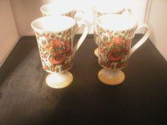 Royal Crown Smug Pedestal Mugs set of 4, numbered vintage orange floral #RoyalCrown