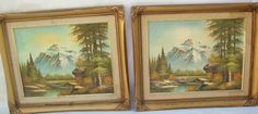 Two Signed Vintage Original Mountain Landscape Oil Painting on Board No Reserve