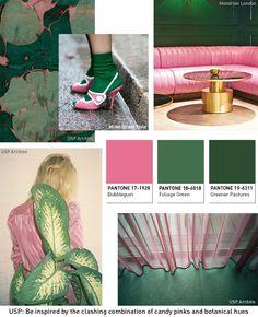 Pink Tropical Bedroom: Pink and Green- colour palette inspiration for the. Colour Schemes, Color Trends, Color Patterns, Color Combos, Yoga Studio Design, Peclers Paris, Green Colour Palette, Website Design, Green Rooms