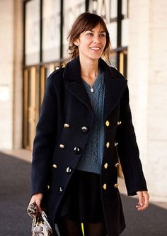 midthigh navy peacoat with brass/gold button = perfect for daytime in winter
