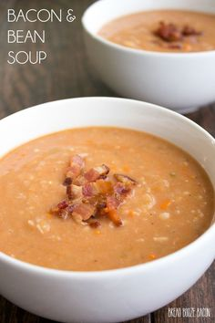 This Bacon and Bean Soup is sure to make it into your fall recipe arsenal. Easy to make and full of flavor, this recipe is always a crowd pleaser! Navy Bean Recipes, Bean Soup Recipes, Fall Recipes, Bacon Recipes, Ww Recipes, Navy Bean Soup, Bean And Bacon Soup, Soup Beans, Lard
