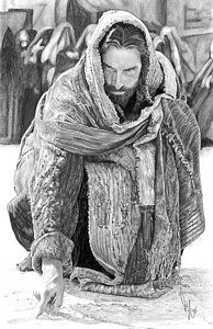 Jesus Writing In The Sand by Bobby Shaw – Faith & Family – epoxyet Images Du Christ, Pictures Of Jesus Christ, Jesus Pics, Jesus Tattoo, Jesus Artwork, Jesus Drawings, Image Jesus, Jesus E Maria, Jesus Christus
