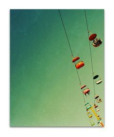 Santa Cruz photography, teal, aqua, orange, pink, yellow, retro, mid century - SkyGlider II, 8x10 art