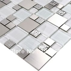 Glass mosaic tile backsplash SSMT110 silver metal mosaic stainless steel mosaic tiles sheet stainless steel mosaic glass tiles-in Mosaics fr...
