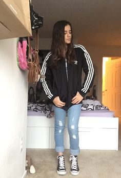 Sporty ootd!  Jacket- adidas Pants-costco Shoes- journey's