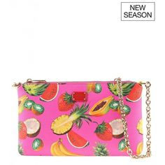 Dolce & Gabbana Pink leather tropical-fruit print mini shoulder bag ($495) ❤ liked on Polyvore featuring bags, handbags, shoulder bags, genuine leather handbags, pink leather purse, pink leather handbags, white handbags and white leather purse