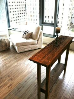 Fantastic rustic feel added with the reclaimed barnwood table look Nilsson Nilsson Donnelly Narrow Sofa Table, Wood Sofa Table, Sofa Tables, Dining Room Table, Diy Furniture Decor, Crate Furniture, Rustic Furniture, Diy Home Decor, Living Room Accents