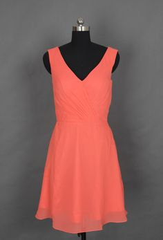 Coral V-neck Short Bridesmaid Dress/Prom Dress. $89.00, via Etsy: simple yet elegant! Seems like the cut could fit a lot of different people as well.