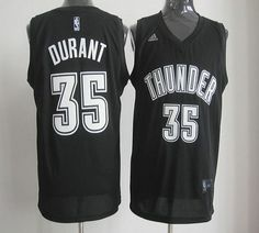 78a493747 Thunder  35 Kevin Durant Black White Stitched NBA Jersey Durant Nba