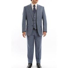 Verno Men's Blue and Grey Striped Classic Fit Italian Styled Three Piece Suit, Size: 38R