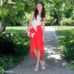 Check out Lava Lovin' Look by Naked Zebra and Delicious at DailyLook. I absolutely adore high low dresses and skirts and the top is super cute and of course I love the nude peep toes