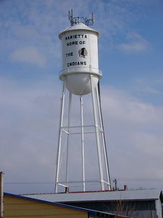 Marietta, Oklahoma - Photo by courthouselover. Oklahoma Water, Tower Light, Le Far West, Water Tower, Advertising Signs, Water Tank, Towers, Nebraska, Tours