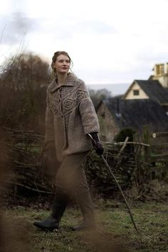 This is me, 100%......from the subtle and redoubtable taupe to the nubby texture of the jac, to the stick 'o walking with big strides across the land... Fabulous!