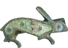 Roman hare    Plate brooch in the shape of a hare with translucent blue and green enamel. Gallo-Roman, mid-2nd/3rd century.    From the excavations at Springhead, Kent.    © High Speed 1 Ltd, photo taken by Wessex Archaeology