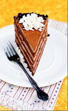 """Chocolate cake filled with Chocolate Custard Buttercream. A classic Russian cake by the name """"Prague"""". by Letthebakingbeginblog.com 