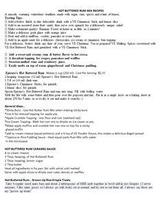 Hot buttered Rum.doc Epicure Recipes, Hot Buttered Rum, Stone Fruit, Lemon Slice, Cinnamon Sticks, Spices