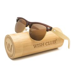 3c0acb5257b WISH CLUB Half Frame Handmade Wood Temple Square Wayfarer Sunglasses UV  Lenses Club Master Classical Style for Women and Men Adults Wooden Bamboo  Vintage ...