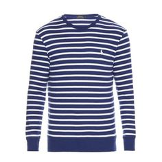 Polo Ralph Lauren Striped cotton sweater (14395 RSD) ❤ liked on Polyvore featuring men's fashion, men's clothing, men's sweaters, blue multi, mens cotton sweaters, mens crew neck sweaters, mens striped sweater, mens cotton crew neck sweater and mens crewneck sweaters