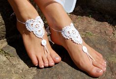 White Barefoot Sandals Beach Shoes Wedding by luludress on Etsy