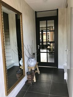 Hall country style Matt black door and golden mirror rnrnSource by Ikea Trones, Future House, My House, Mudroom, Interior Inspiration, Beautiful Homes, New Homes, House Design, Interior Design