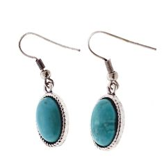 Oval Shape Silver/Acrylic Turquoise Fish-Hook Earring #Turquoise #MyStyleJewelry