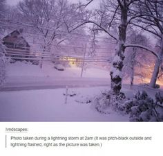 This is so pretty! Two of my favorite things, snow and lightning