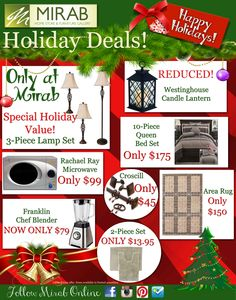 Holiday Deals available ONLY at Mirab's Home Store!