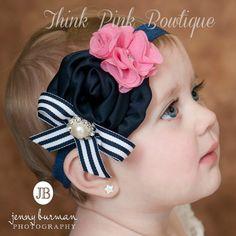 Bebé diadema, vendas del bebé, venda de la muchacha del bebé, rosa y Marina azul flor venda, venda de Infante, Shabby chic diadema, arcos del pelo del bebé.