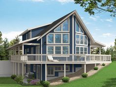 051H-0357: Mountain House Plan for a Sloping Lot A Frame House Plans, Two Story House Plans, Lake House Plans, Mountain House Plans, New House Plans, House Floor Plans, Cottage Style House Plans, Craftsman Style House Plans, Hillside House