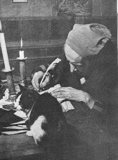 Paul Léautaud et l'un de ses chats