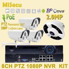 Auto Cruise 48V POE ONVIF 1080P 8CH NVR KIT 360degree Panoramatický real 48V POE IR 2,8 - 12 mm Zväčšiť obrázok rezanie Vodotesné P2P CCTV