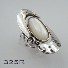 925 Silver Mother of Pearl ring yellow gold and sterling by jewela