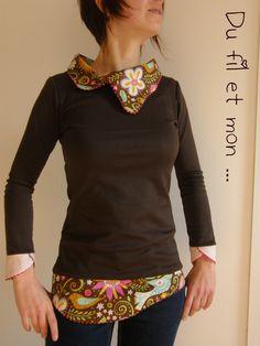 Petit Haut Ondulé par Du fil et mon . Recycle Old Clothes, Diy Clothes, T Shirt Remake, Umgestaltete Shirts, Altering Clothes, Couture Sewing, Couture Tops, Crochet Clothes, Pullover