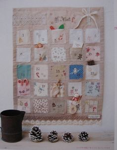 shabby chic advent calendar ( no tutorial, just for inspiration) / calendario de adviento de retales. (sin tutorial, sólo como idea)