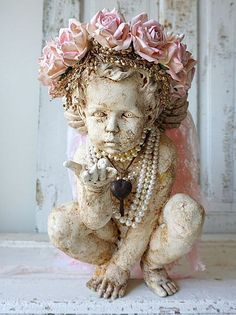Cherub statue adorned pink rose crown shabby cottage chic distressed ornate…