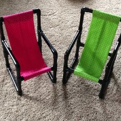 I made these awesome chairs by following the directions on the link below.   The only modification I made was to use PVC cement on the connectors (except where I put the fabric in so I could change them if need be).  She said her chairs were about $11 a piece. Mine were closer to $19 (the cement was $3.49) but worth it!  http://quelinda-crafts.blogspot.com/2011/12/diy-toddler-chairs-made-out-of-pvc-pipe.html?m=1