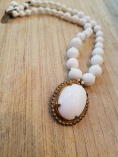 Miriam Haskell white bead necklace miriam by JewelryLover942