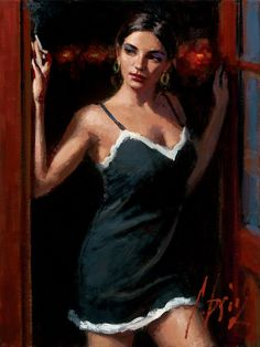 limited edition giclée of At the Door X painting by Fabian Perez. Contact us to ask about this painting's price, sizes, SN and AP. Oil Painting For Sale, Paintings For Sale, Romain Gary, Fabian Perez, Art Sites, Art For Art Sake, Illustrations, Portrait Art, Canvas Art Prints