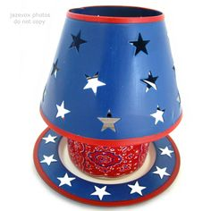 NEW NIB AVON RED WHITE BLUE STARS Apple Scented CANDLE LIGHT JAR LAMP SHADE Lighting $45 .. we sell more home decors decorations at http://www.tropicalfeel.com
