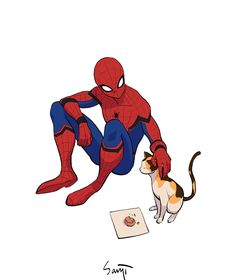 Spidey and the kitty by @SANJISEO