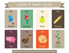 Free Printable Letter P Flash Cards English Activities, Vocabulary Activities, Kids Learning Activities, Preschool Worksheets, Letter Flashcards, Alphabet Cards, Free Printable Flash Cards, Printable Letters, English Fun
