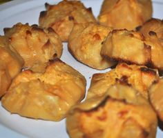 Baked buffalo chicken wontons