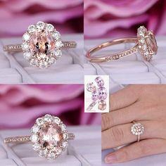 Oval Morganite Engagement Ring Moissanite Wedding 14K Rose Gold 6x8mm