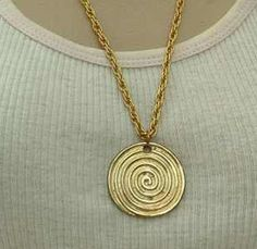Golden Spiral Modernist Style Pendant Necklace 24 inch Chain Vintage Jewelry