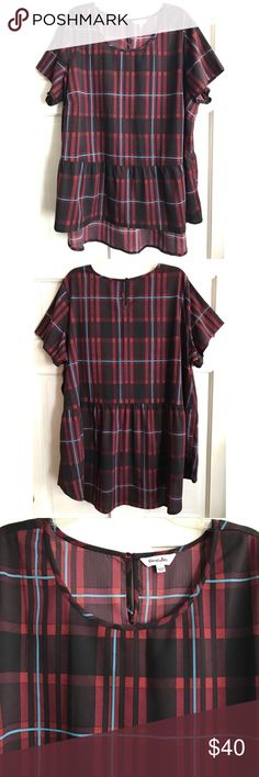 Plaid Hi-Lo Peplum Top SIMPLY BE / Plaid Babydoll Peplum Top US Plus Size 26 - Burgundy, wine and blue plaid  - Babydoll / loose peplum style with hi-lo hem - Short sleeve - One button back closure  - 100% Polyester  (no stretch) ✅ worn once for photos. Excellent condition.  ✅ NO trades / NO low-balling ✅ List price is fair and highly discounted✌️ Simply Be Tops Blouses