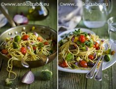 The Green Paprika & Paprika: Spaghetti con brunoise di verdure ,curcuma e maggiorana ~